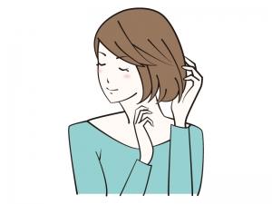 髪の毛を整える女性のイラスト
