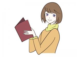 雑誌・冊子を読む女性のイラスト