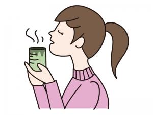 ほっと一息・お茶を飲む女性のイラスト