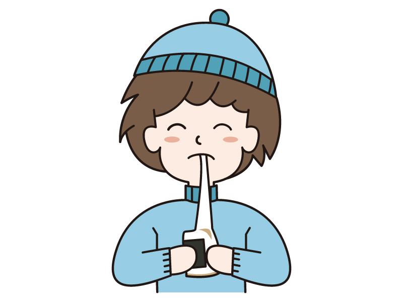 お正月・お餅・磯辺餅を食べる男の子のイラスト