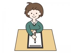 お正月・書初めをしている男の子のイラスト