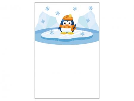 文字無し・ペンギンの寒中見舞いテンプレートイラスト01