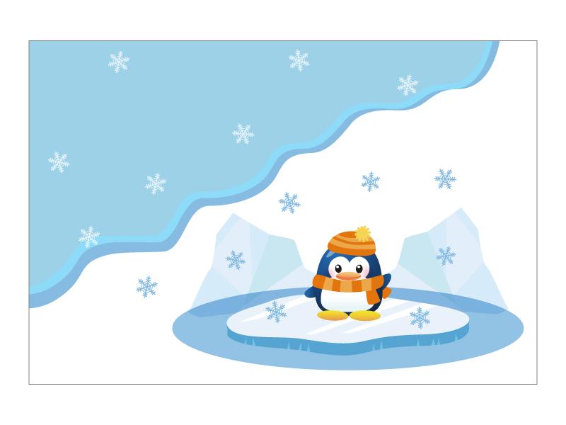 文字無し・ペンギンの寒中見舞いテンプレートイラスト02