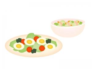 ゆで卵・野菜サラダのイラスト