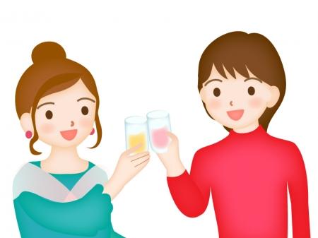 女性がグラスで乾杯しているシーンのイラスト