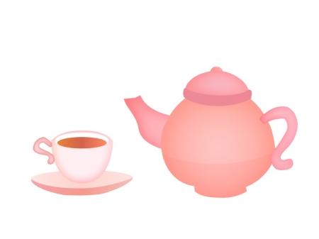 紅茶のティーポットとティーのイラスト