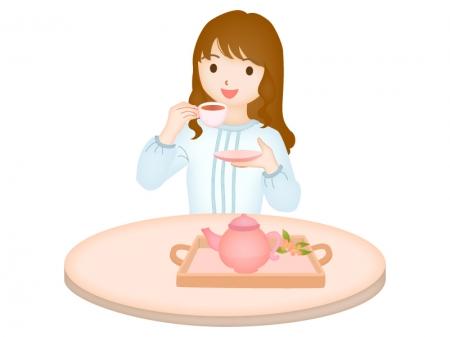 紅茶・ティーを飲む女性のイラスト