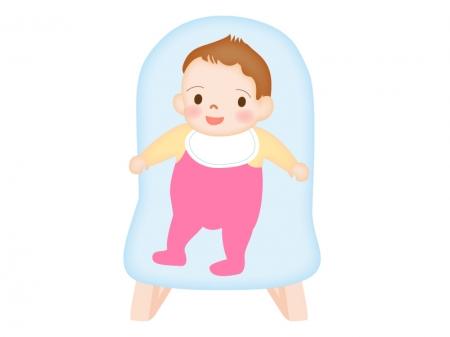 椅子に座って笑っている赤ちゃんのイラスト