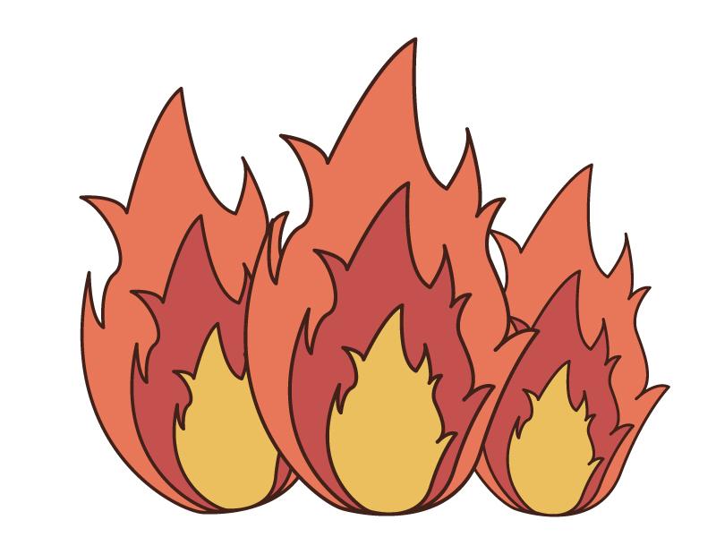 激しく燃える炎・火のイラスト