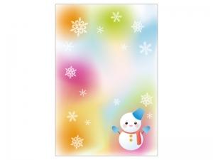 文字無し・パステル調背景の雪だるまの寒中見舞いテンプレートイラスト01