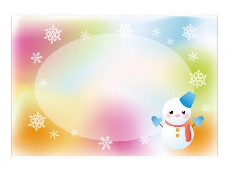 文字無し・パステル調背景の雪だるまの寒中見舞いテンプレートイラスト02