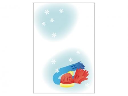 文字無し・手袋とマフラーの寒中見舞いテンプレートイラスト01