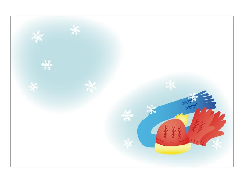 文字無し・手袋とマフラーの寒中見舞いテンプレートイラスト02