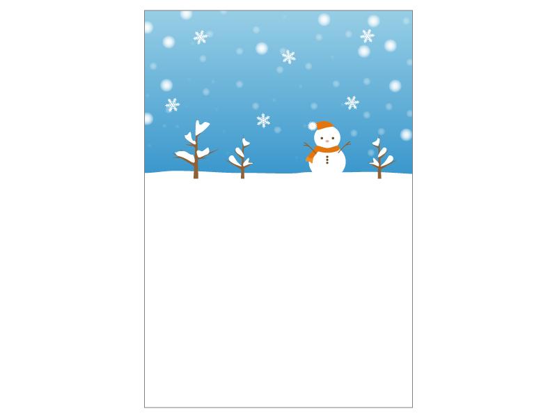 文字無し・雪だるまの寒中見舞いテンプレートイラスト07
