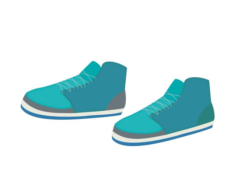 緑色のスポーツシューズ・運動靴のイラスト