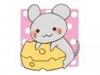 チーズを抱えているかわいいネズミのイラスト