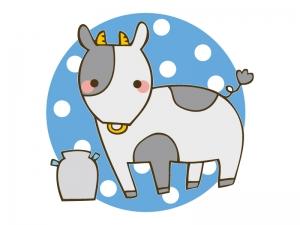 ミルクとかわいい牛のイラスト