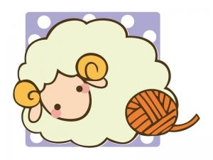 かわいい羊と毛糸のイラスト