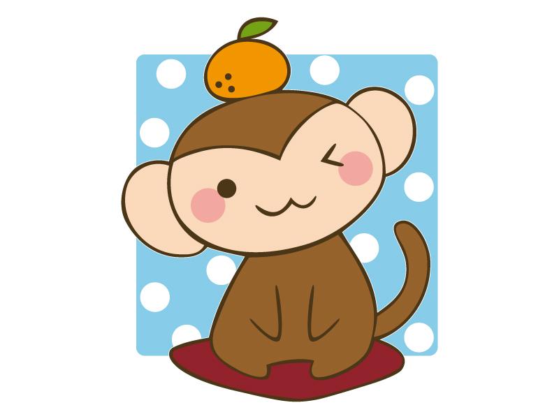 頭の上にみかんを乗せた猿のイラスト
