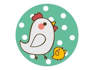 かわいいニワトリとヒヨコのイラスト