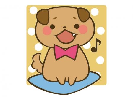 蝶ネクタイをしたかわいい犬のイラスト