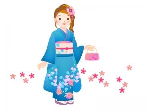 成人式で着物を着ている女性のイラスト