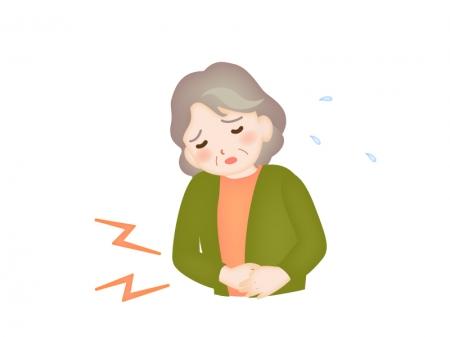 腹痛をイメージしたお年寄りのイラスト