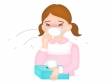 花粉症・風邪でくしゃみが止まらない女性のイラスト
