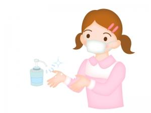 マスクをして手洗い・アルコール消毒をしている女の子のイラスト