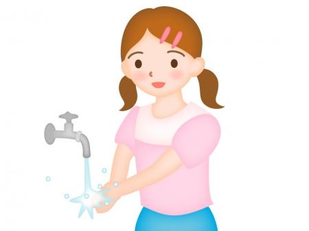 手洗いをしている女の子のイラスト