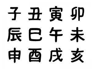 干支「十二支セット」手書き風の文字イラスト