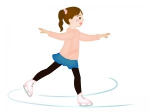 フィギュアスケートで滑っている女の子のイラスト