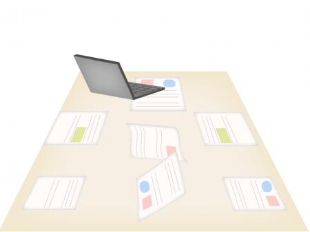 会議室で資料とノートパソコンがある風景のイラスト