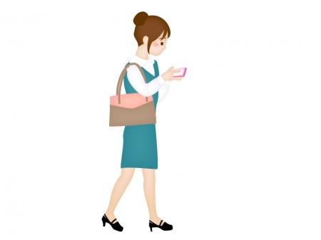 歩きスマホをしている女性(OL)のイラスト