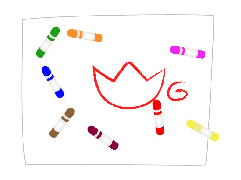 クレヨンと画用紙のお絵かきのイラスト