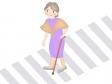 杖をついて横断歩道を渡るお年寄りのイラスト