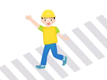 手を挙げて横断歩道を渡る子供のイラスト