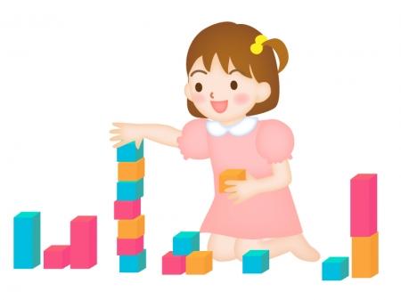 積み木をして遊ぶ女の子の幼児のイラスト