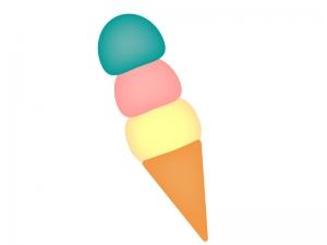 3色のトリプルのアイスクリームのイラスト