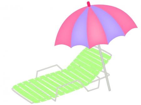 夏・ビーチパラソルとデッキチェアのイラスト