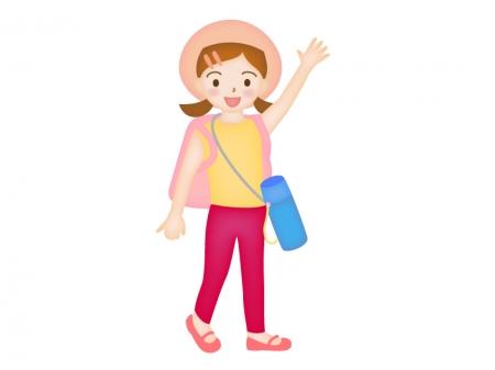 遠足でリュックサックと水筒を持っている女の子のイラスト