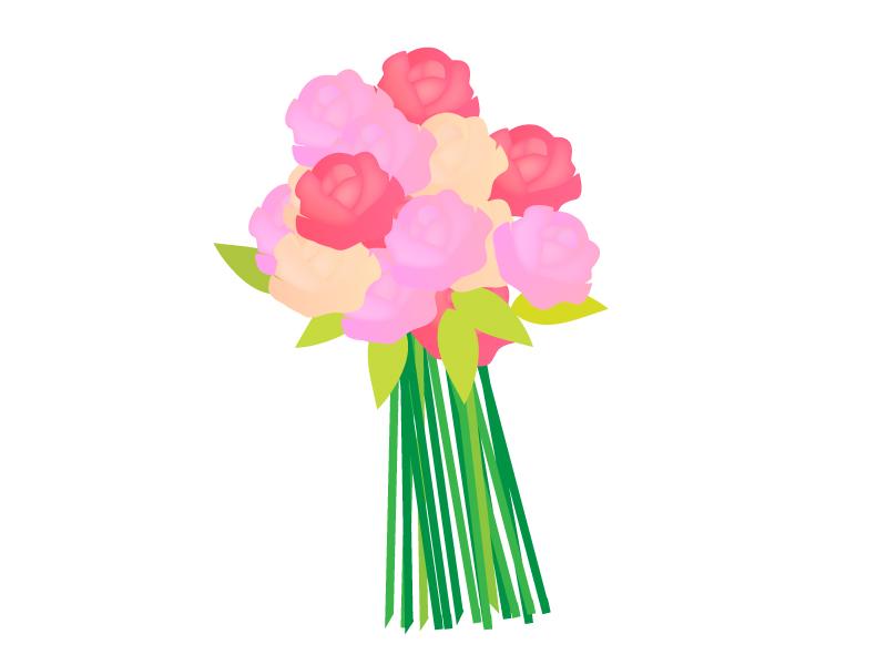 薔薇のブーケ(花束)のイラスト