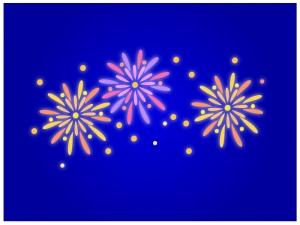 夜空にあがる花火のイラスト02
