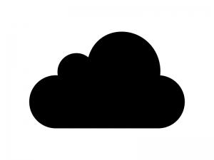 シンプルな雲・クラウドの白黒シルエットイラスト