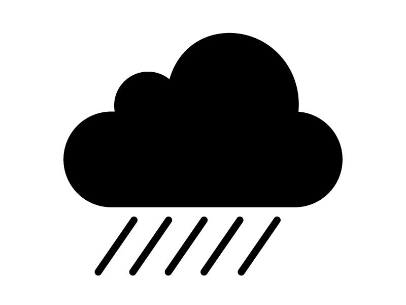 天気・雨マークの白黒シルエットイラスト