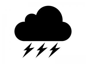 天気・雷雨マークの白黒シルエットイラスト