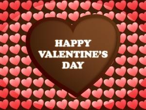 ハート型チョコレートのバレンタインのグリーティングカードのイラスト