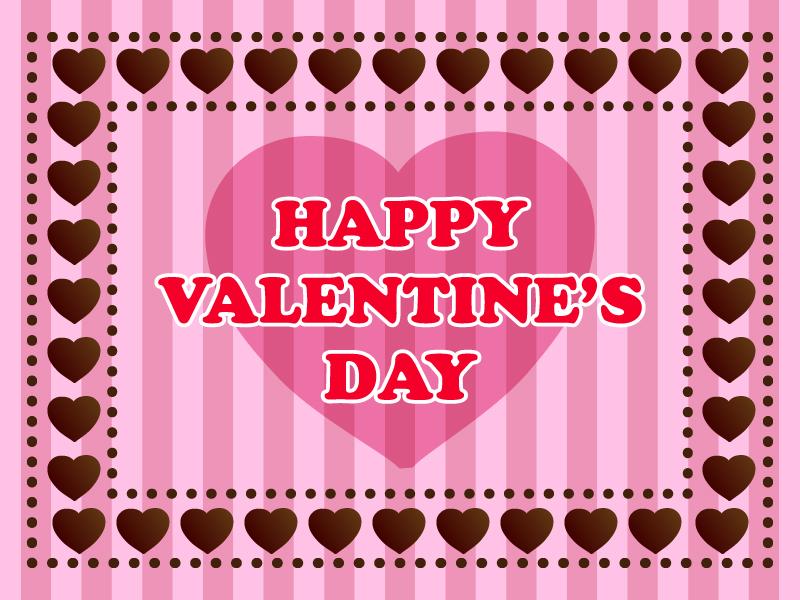 ハート型チョコレートの枠のバレンタインのグリーティングカードのイラスト