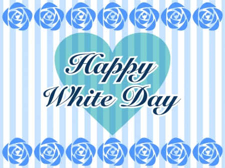 青いバラのシルエットのホワイトデーのグリーティングカードのイラスト