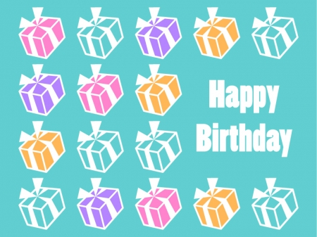 プレゼント箱が並んだ誕生日のグリーティングカードのイラスト